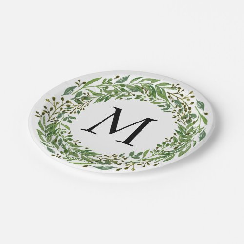 Custom Classic Green Laurel Wreath Leaves Pattern Paper Plate