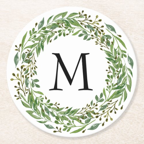 Custom Classic Green Laurel Wreath Leaves Pattern Round Paper Coaster
