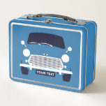 """Custom Classic Mini Cooper car lunch box<br><div class=""""desc"""">Custom Classic Mini Cooper car lunch box with Union Jack rear view. Add name or registration number,  or leave blank.</div>"""