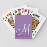 "Custom Classic Purple Monogram Playing Cards<br><div class=""desc"">This classic and simple custom purple monogram design is perfect for the modern and stylish woman. It&#39;s chic and contemporary print is great for any gift. Just customize this personal monogram with your own name. You can also customize the text and colors by clicking on &quot;customize it&quot;.</div>"
