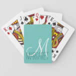 "Custom Classic Soft Teal Monogram Playing Cards<br><div class=""desc"">This classic and simple custom soft teal monogram design is perfect for the modern and stylish woman. It&#39;s chic and contemporary print is great for any gift. Just customize this personal monogram with your own name. You can also customize the text and colors by clicking on &quot;customize it&quot;.</div>"