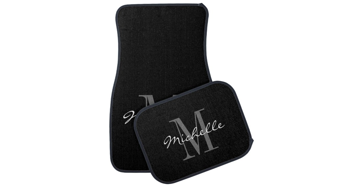 Custom classy black and white monogram car mat set