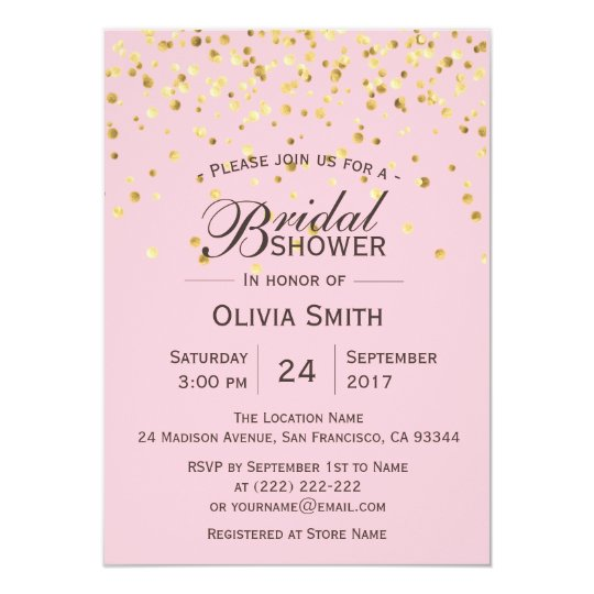 Custom Classy Pink Gold Bridal Shower Invitations