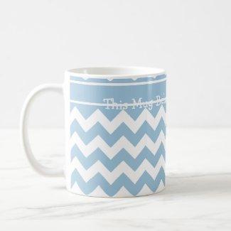 Custom Coffee Mug, Blue and White Chevrons