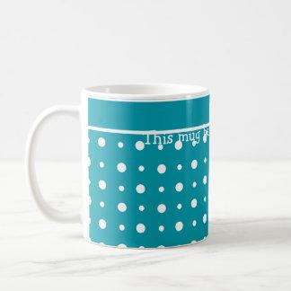 Custom Coffee Mug, Polka Dots, White on Teal Coffee Mug