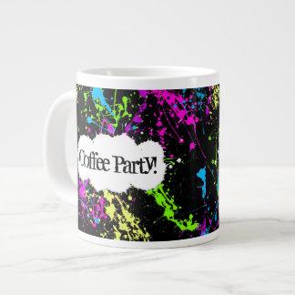 Custom Coffee Party Neon Paint Splatter Jumbo Mug