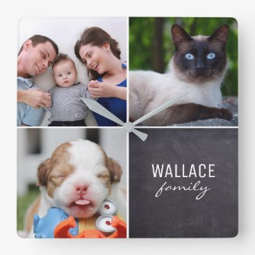 Beach Themed Custom Collage 4 Photos, Personalized, chalked Square Wall Clock