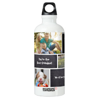 Custom Collage 7 Photos, chalk letters Aluminum Water Bottle