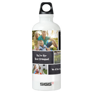 Custom Collage 7 Photos, chalk letters Water Bottle