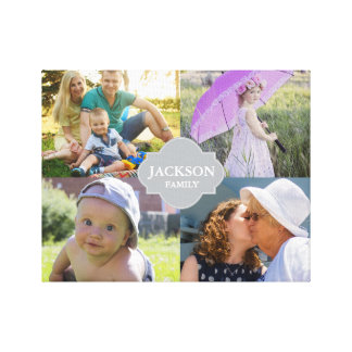 Custom Collage photos with family name, 4 pictures Canvas Print