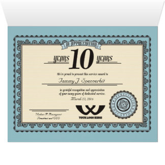 Custom color 10 year employment service award card