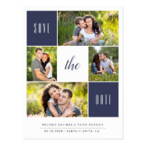 Custom Color 4 Photo Save the Date Postcard