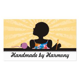 Custom color African American girl crochet yarn Business Card