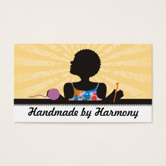 Custom color African American girl crochet yarn Business Card