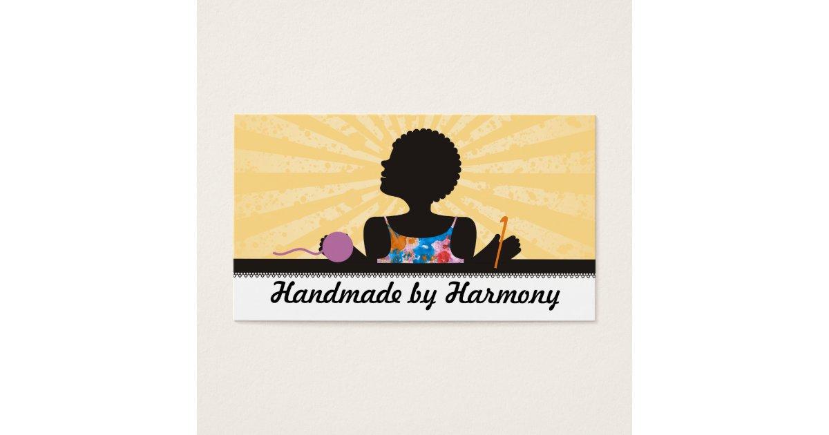 Custom color African American girl crochet yarn Business Card ...