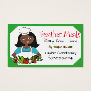 African american woman business cards templates zazzle custom color african american woman chef vegetable business card colourmoves Images
