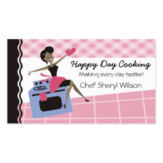 Custom color African American woman oven cooking Business Card