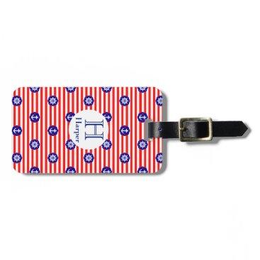 Custom color and monogram, nautical navy design: bag tag