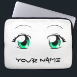 "Custom Color Anime Girl Eyes Computer Sleeve<br><div class=""desc"">Classic large eyes in Japanese animation and manga (comic books),  designed to allow custom eye color. Also includes customizable (or removable) text for personalization.</div>"