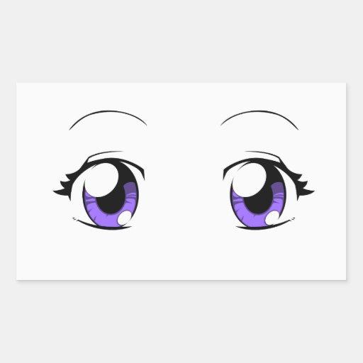 Custom Color Anime Girl Eyes Rectangular StickerJapanese Anime Eyes