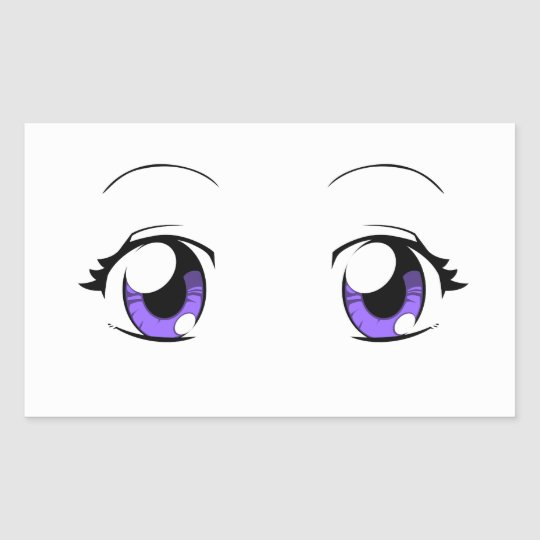 Custom Color Anime Girl Eyes Rectangular Sticker | Zazzle.com