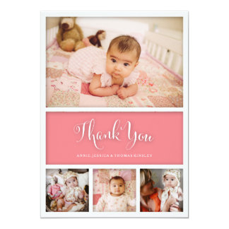 """Custom Color Baby First Thank You Photo Card 5"""" X 7"""" Invitation Card"""