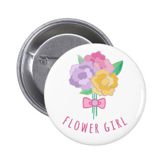 Custom Color Background Flower Girl Bouquet Pin
