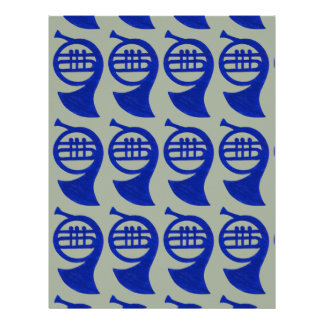 Custom Color Background French Horn Scrapbook Letterhead