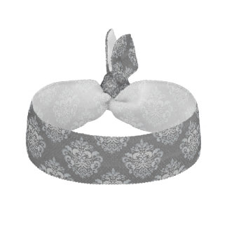 Custom Color Background Grey Damask Pattern Ribbon Hair Ties
