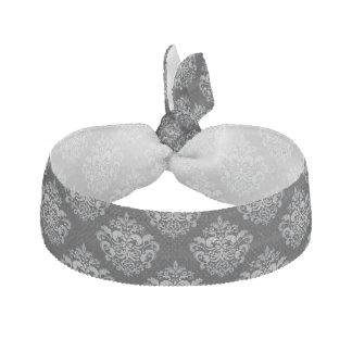 Custom Color Background Grey Damask Pattern Ribbon Hair Ties