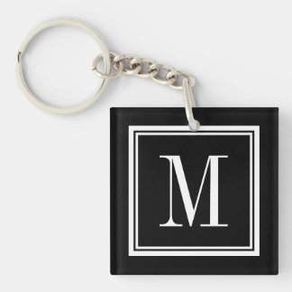 Custom color background monogram letter keychain