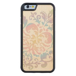 Custom Color Background Pastel Damask Pattern Carved Maple iPhone 6 Bumper Case
