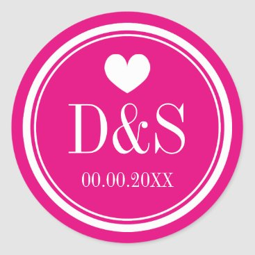 Valentines Themed Custom color background wedding favor stickers