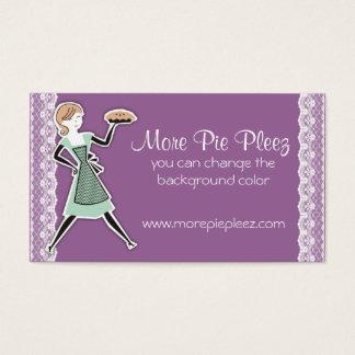 custom color bakery retro baking pie girl business card