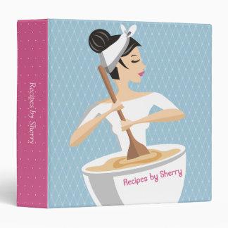 Custom color bakery woman bowl recipe cookbook 3 ring binder