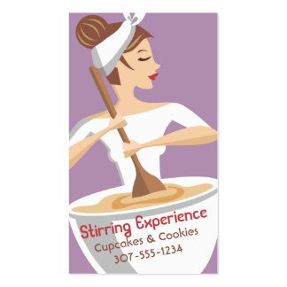 Custom color bakery woman stirring giant bowl Double-Sided standard business cards (Pack of 100)