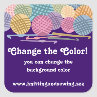 Custom color balls of yarn crochet hooks labels square sticker