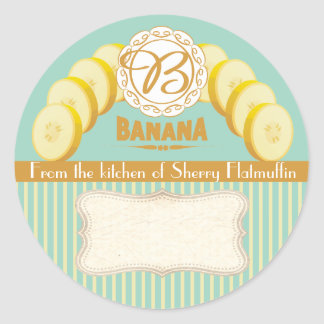 Custom color banana canning label food gift label classic round sticker