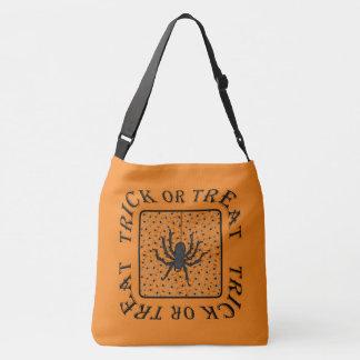 Custom Color BG - Black Spiders - Trick or Treat Crossbody Bag