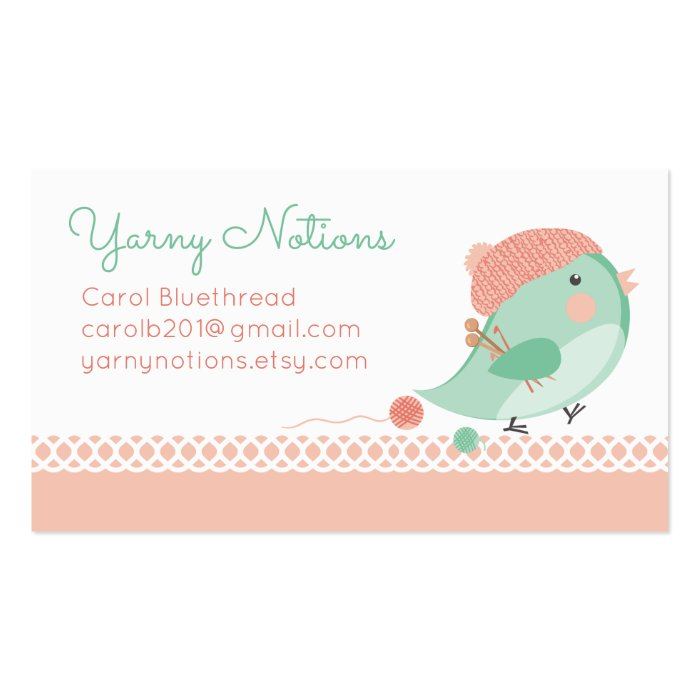 Knitting Logo Business Cards : Custom color bird knitting needles crochet hooks business