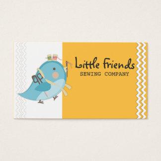 Custom color bird seamstress sewing notions card