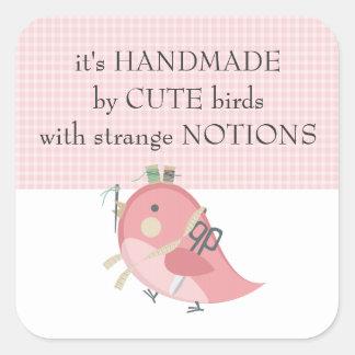 Custom color bird seamstress sewing notions label