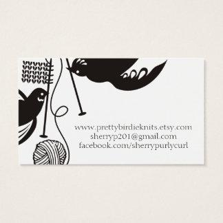 Custom color birds knitting needles ball of yarn business card