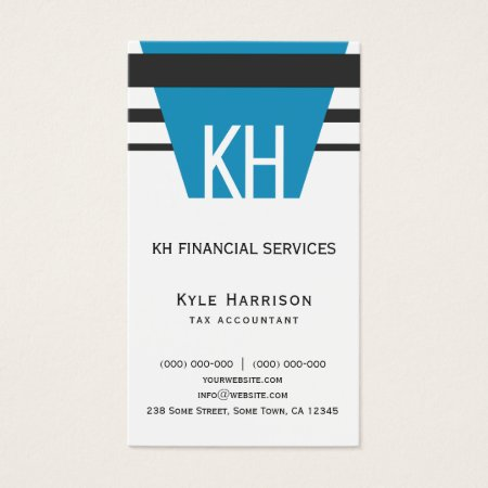 Modern Custom Color Blue Black and White Monogram Accountant Business Card Templates