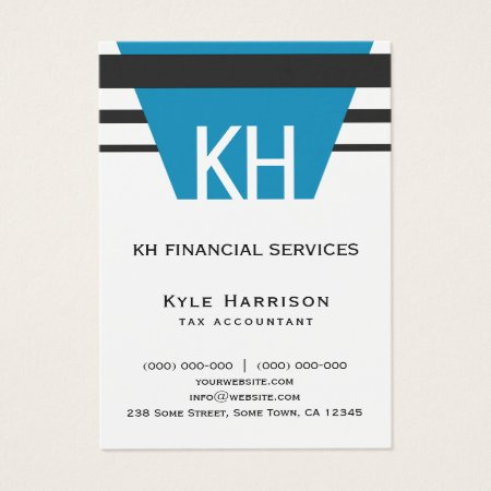 Minimal Simple Custom Blue and White Monogram Black Stripes Accounting Business Cards