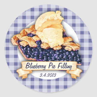 Custom color blueberry pie fruit canning label