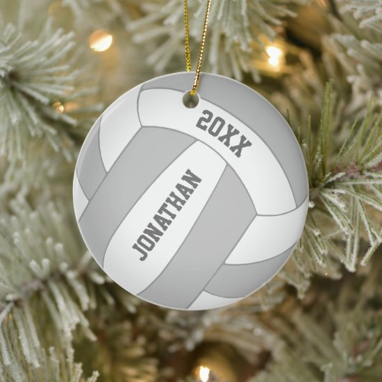 Custom color boy's volleyball ceramic ornament