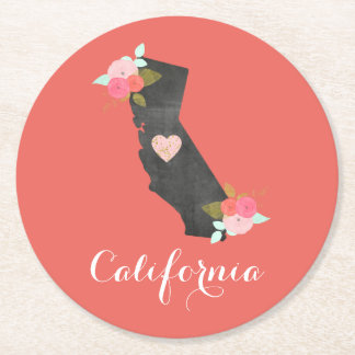 Custom Color California State & Moveable Heart Round Paper Coaster