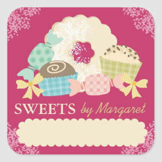 Custom color candy truffle cookie food labels square sticker