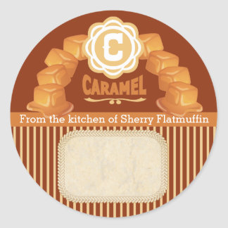 Custom color caramel canning label food gift label classic round sticker